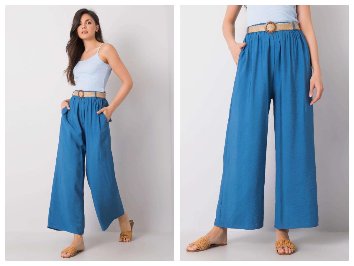 Spodnie culotte na co dzień w kolorze niebieskim