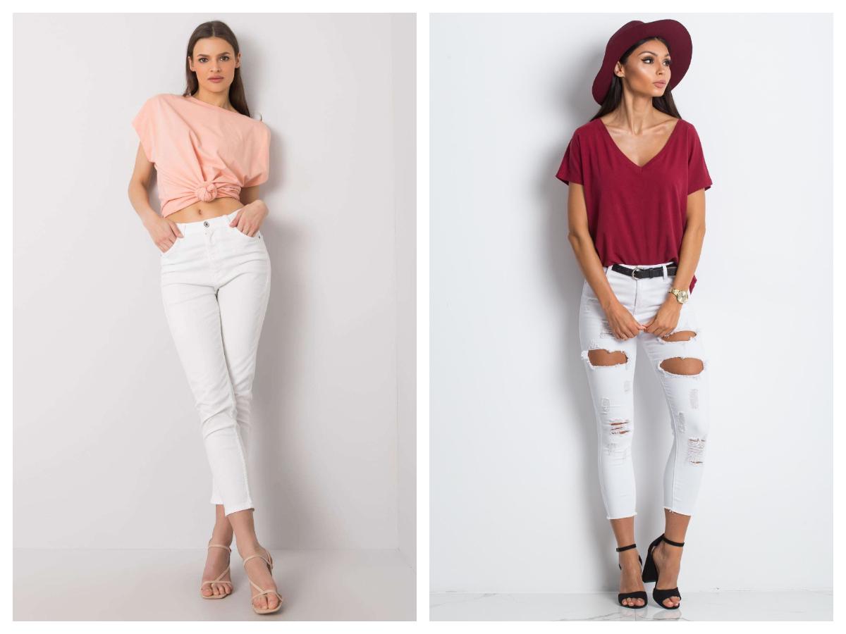 Białe białe spodnie jeansowe ze średnim stanem