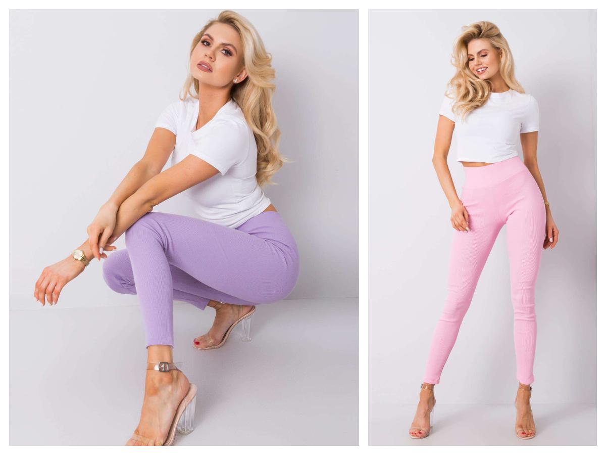 Prążkowane spodnie jasny kolor fioletowy